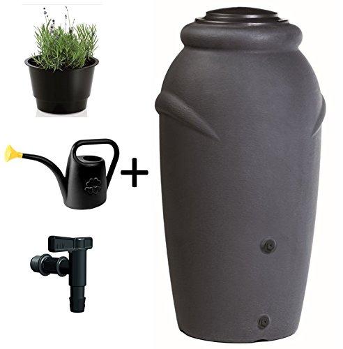 Regentonne Wassertonne Regenfass Wassertank Amphore 210L mit Wasserhahn Anthrazit