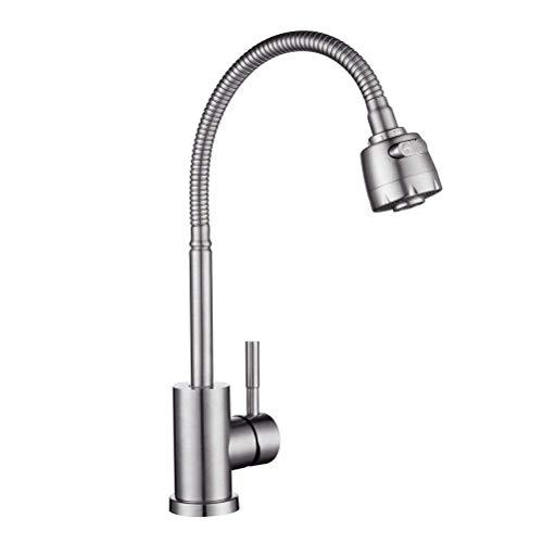 LOSKDMMJIO Wasserhahn-SUS 304 Edelstahl-Küche Universal Warm-Und Kaltwasser Hahn Zeitgenössischer Spüle Wasserhahn Energieklasse A
