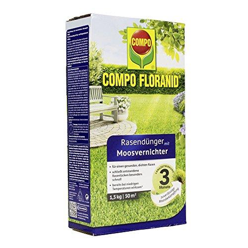 COMPO FLORANID Rasendünger mit Moosvernichter 3 Monate Langzeitwirkung Feingranulat 15 kg 50 m²