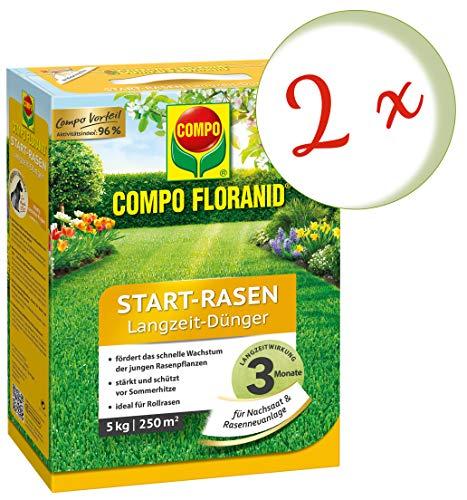 Oleanderhof Sparset 2 x COMPO Floranid Start-Rasen Langzeit-Dünger 5 kg  gratis Oleanderhof Flyer