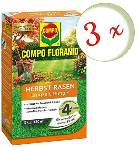 Oleanderhof Sparset 3 x COMPO Floranid Herbst-Rasen Langzeit-Dünger 3 kg  gratis Oleanderhof Flyer