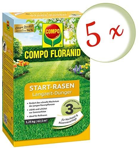 Oleanderhof Sparset 5 x COMPO Floranid Start-Rasen Langzeit-Dünger 125 kg  gratis Oleanderhof Flyer