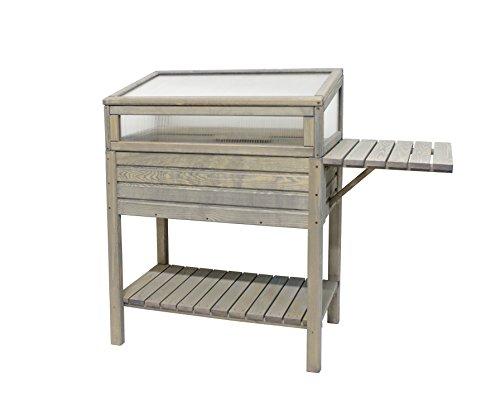 Holz-Hochbeet 118x39x107 cm grau