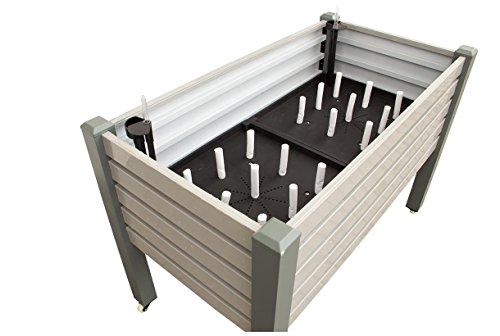 Nativ Premium Hochbeet TRIEST mit BewässerungssystemRollbar Aluminium grau Gartenbeet Metall