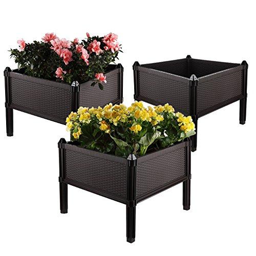 T4U Assemblierend BlumentopfBlumenkasten mit Füßen Erweiterbar FrühbeetHochbeet Rattan Design für Gräser Gemüse Kräuter - Dunkelbraun 3er Set