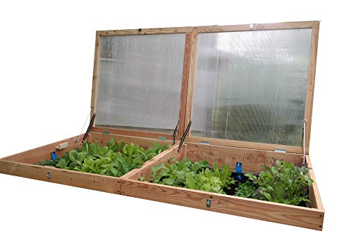 bio-garten Frühbeet-Aufsatz aus Lärchenholz für Hochbeet 100 x 200 cm -Top Qualität