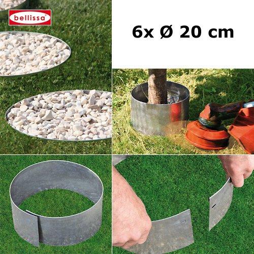 6er Set Bellissa Rasenkante Kreis Beetumrandung Beeteinfassung Baumschutz Mähschutz für Bäume vom KiesKönig Durchmesser 20 cm