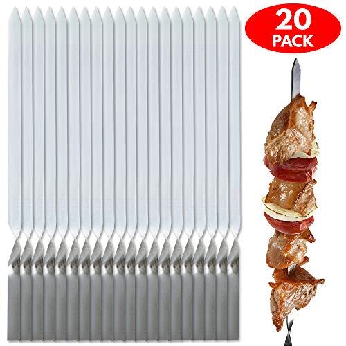 20x Edelstahl Grill-Spieße Schaschlik-Spieße Set – Perfekte Metallspieße Fleischspieße Zum Grillen für Grillpartys – Ideal für Grillfleisch Obst Gemüse – mit Praktischem Beutel
