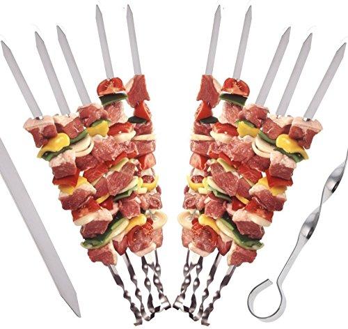 STAR-LINE 24 Grillspieße Schaschlikspieße aus Edelstahl 40cm  Fleischspieße für BBQ Grill  Kebab Spieße  Schampura für Mangal
