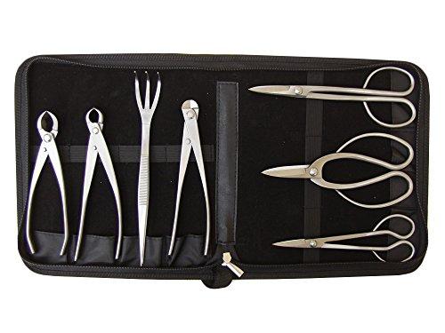 Genki-Bonsai Profi Bonsai-Werkzeugset  Hochwertige Edelstahl-Werkzeug  7-Teiliges Set  Inkl Werkzeugtasche