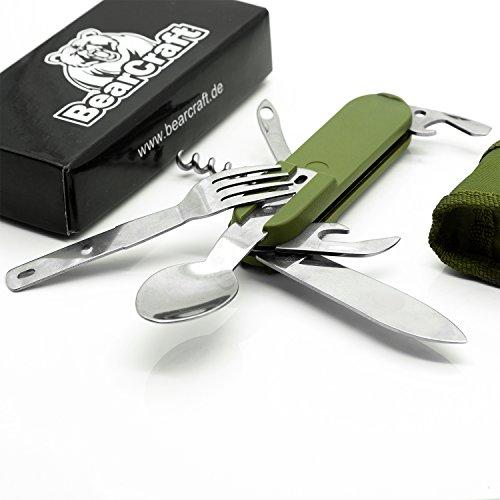BearCraft Camping-Besteck  7 in 1 Multifunktions Klappbesteck mit Messer Gabel und Löffel  Outdoor Survival Reisebesteck mit Taschenmesser und Dosenöffner