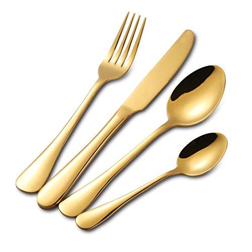Buyer Star 4 Stück Besteckset Gold Edelstahl Besteck Utensilien Geschirr Besteck Utensil Set Teelöffel Messer Gabel Löffel