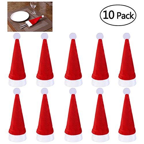 NICEXMAS 10 stücke Super Weichem Stoff Weihnachtsmütze Weihnachten Messer Löffel Gabel Taschen Geschirr Besteck Halter Weihnachten Tischdekoration