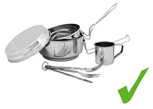 PRAKTISCHES Edelstahl Camping-Geschirr-Set Outdoor Kochgeschirr Zubehör 7tlg Topf Kasserolle Tasse Besteck