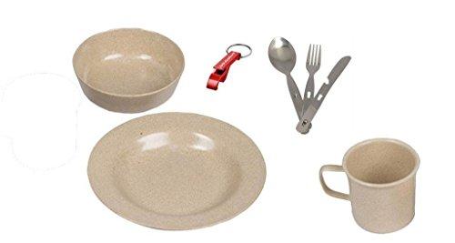 AOS-Outdoor Camping Geschirr Set aus umweltfreundlicher Reisschale  Stainless Besteck Teller Tasse 7 Teile robust