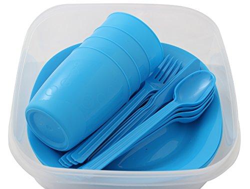 Menz Outdoor - Camping-Picknick-Set 1 Set in blau  Geschirrset für 4 Personen 21-teilig aus Kunststoff mit Teller Becher und Besteck - Made in Europe Blau - 1 Stück