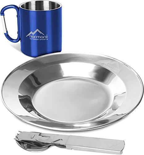 normani Outdoor Camping Geschirrset bestehend aus Besteck  Teller  Tasse mit Karabinerhacken  Dosen- und Flaschenöffner - 100 rostfreier Edelstahl Farbe Blau