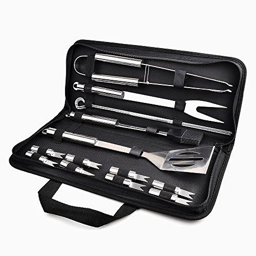 Chenci Grillbesteck BBQ Grillzubehör 16 Set Barbecue Grillen Werkzeuge Koffer aus Edelstahl mit wärmeisolierende Griff Ideal für Outdoor Familien Garten Party