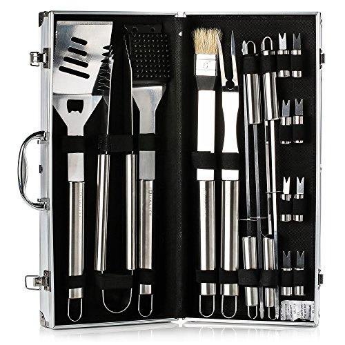 IBUYTOP BBQ Grill Werkzeug Set Grill Grill Utensilien Outdoor Grill Edelstahl Zubehör Grillen Tool Kit in Tragetasche 17-teilig