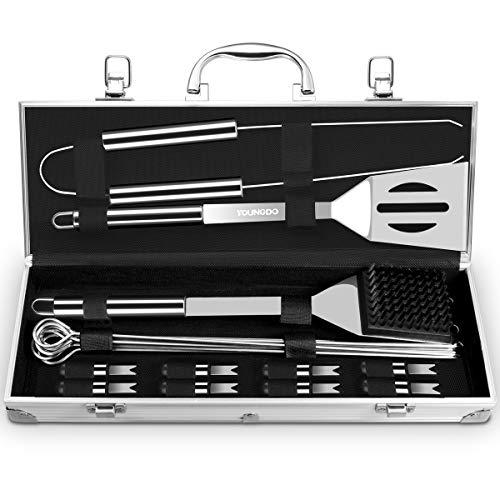 Youngdo Grillbesteck Set 20 Teilige BBQ Grillzubehör aus Hochwertig Edelstahl Tragbare Grill Werkzeuge im Aluminium Koffer für Outdoor Familien Garten Party