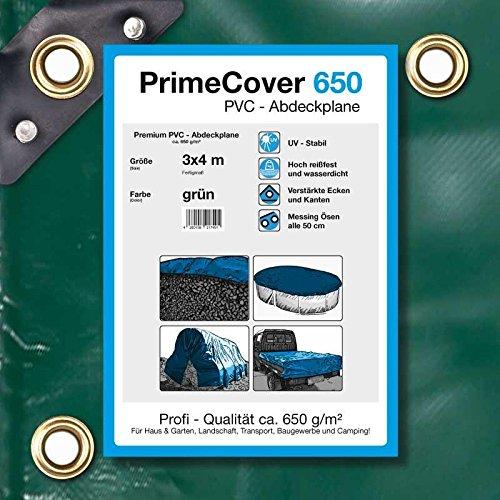PrimeCover PVC Abdeckplane 650 gm² grün Gewebeplane zur Verwendung als Holzabdeckplane Bootsplane LKWplane oder Schutzplane 3 x 4 mtr