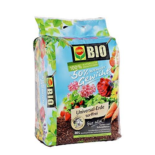 COMPO BIO Universal-Erde torffrei ca 50 weniger Gewicht mit Schafwolle hochwertige BIO Blumenerde  30 L