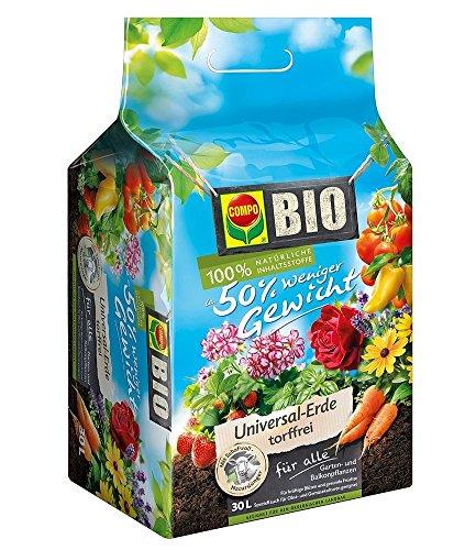 COMPO Bio-Erde 50 weniger Gewicht mit Schafwolle torffrei 30 Liter