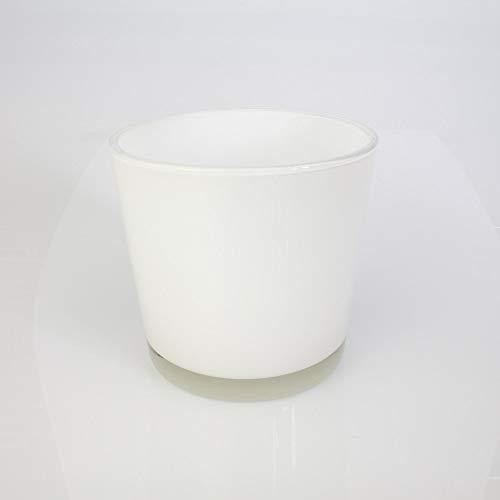 Runde VaseBlumentopf Alena weiß 16cm Ø17cm - DekovaseKonisches Glas