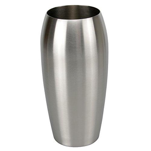 bella casa Blumenvase Vaso Ovale oval 115 x 25 cm Gross Silber Edelstahl konisch Bodenvase Dekovase Bogenvase deko Blumentopf Vase Gefäss