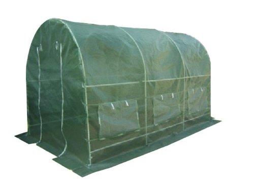 Nexos Foliengewächshaus Tomatenzelt Gewächshaus Treibhaus 9m² Grundfläche 2m x 45m Höhe 2m UV – beständige PE-Gitter Folie witterungsbeständig 2 Eingänge 6 Fenster Frühbeet Tomatenhaus