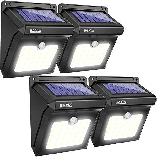 BAXiA Solarleuchte Außen28 LED Solarlampe mit Bewegungssensor Kabelloses Wasserfest Sicherheitslicht Solarlicht für GärtenTüreFlurWegeTerrassen Patio Zaun 400LM4-Stück