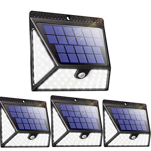 Luposwiten 82 LED Solarlampen für Außen mit Bewegungsmelder1640 LM Weitwinkel Solarbewegungsmelder Aussen für Garten PatioTerrassenWand Flur Zaun Einfahrt Gehwegen 4 Stück IP65 Wasserdicht