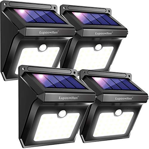 Luposwiten Solarlampen für Außen28 LED Solarleuchten mit Bewegungsmelder Aussenbeleuchtung Solarleuchten für Außen Patio Wand Flur Treppen Zaun Hof Einfahrt Terrassen Solarlichter4 Stück