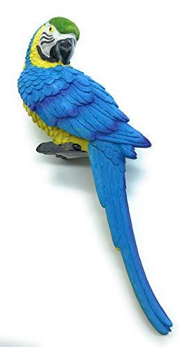 Papagei 32 cm für Zaun Wand und Balkon Grundfarbe GELB Eine schöne Zaunfigur als Zaunhocker und Zaungast oder Deko Dekoration Gartenfigur Für Balkons Terrassen Zäune Wände Sträucher und Bäume