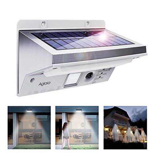 Solarleuchten Solar LED Außenleuchte 3 Intelligiente Modi Wandleuchte Energiesparende Wasserdicht mit Bewegungs-Sensor-Licht für Garten Zaun Terrasse Patio