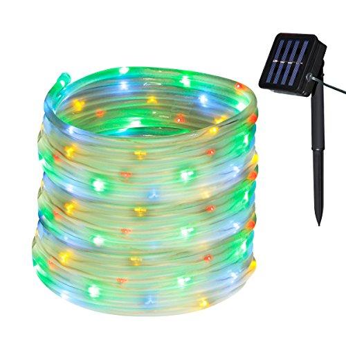 Yasolote Solar Lichterkette Außen Wasserdicht LED Außenlichterkette Schlauch 10m 100 LED 8 Modi Beleuchtung für Garten Balkon Pavillon Terrasse Rasen Zaun Hochzeit Party Deko Vielfarbig