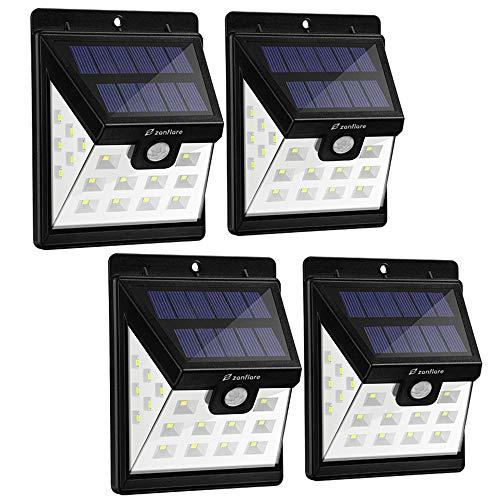 Zanflare 22 LED Solar Gartenleuchte Solarenergie Wasserdichte Außenleuchte mit Bewegungsmelder Solar Gartenleuchte Zaun Terrasse Innenhof Auffahrt Treppe Außenwand 4PACKS