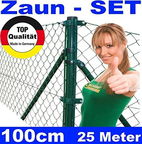 Maschendrahtzaun - SET 100cm 25 Meter lang mit EINSCHLAGHÜLSEN