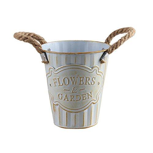 ZLR Eisen-Eimer aus Blech Metall Heimdekoration Blumentopf mit Griff zur Reinigung der Bewässerung weiß S