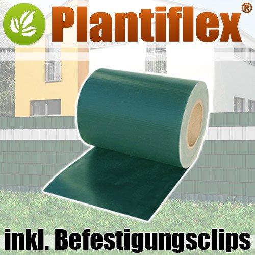 Plantiflex Sichtschutz Rolle 35m blickdicht PVC Zaunfolie Windschutz für Doppelstabmatten Zaun Grün