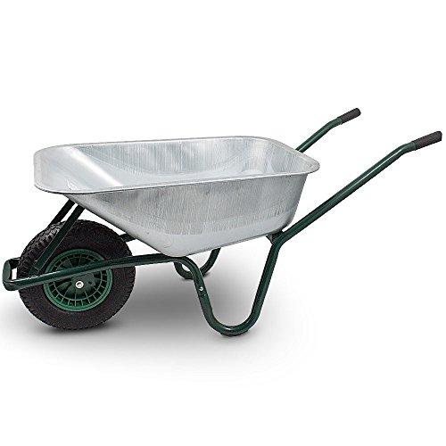 BITUXX Schubkarre 100L Schubkarren Schiebkarre Bauschubkarre Verzinkt mit Luftreifen bis 250kg