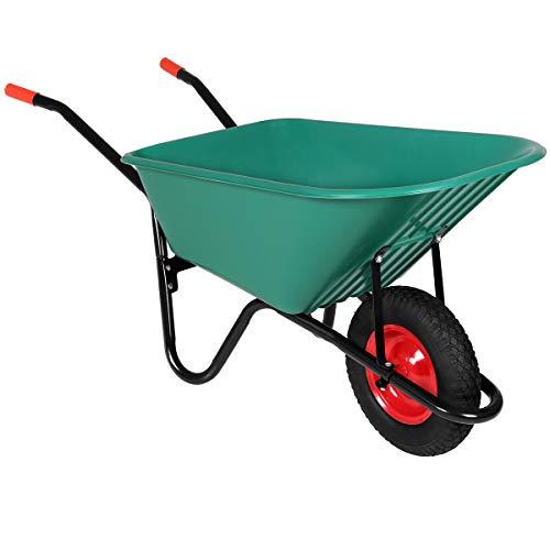Monzana Schubkarre 100 Liter  Bauschubkarre Gartenschubkarre  bis 150kg Belastbarkeit  Luftreifen  stabile Ausführung mit Kunstoffwanne