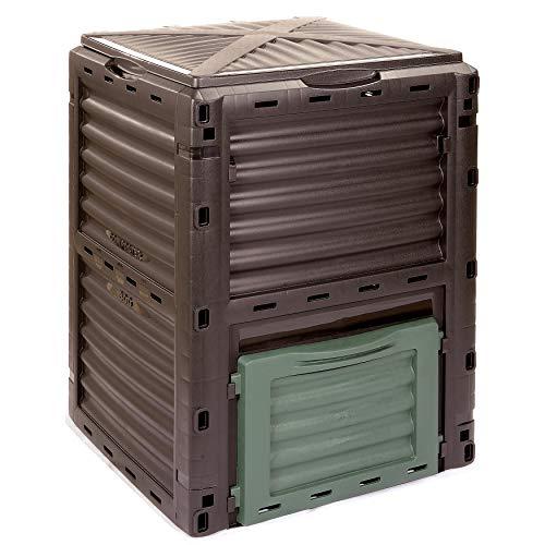 KOMPOSTER Kompo von 4smile – Made in Europe  300 l Gartenabfallbehälter  Thermo Kompostierer ohne Boden für pflanzliche Bioabfälle  Farbe anthrazit-dunkelgrün