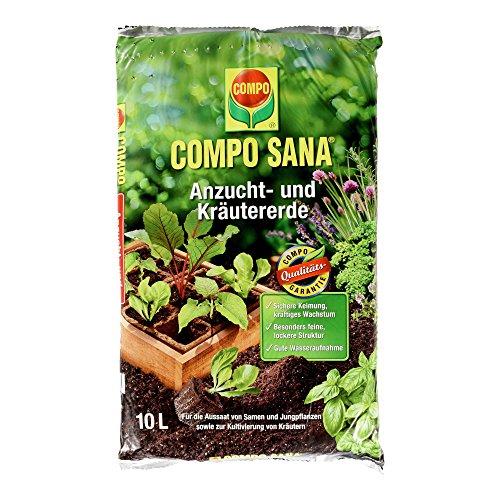 COMPO SANA Anzucht- und Kräutererde mit 6 Wochen Dünger für alle Jung- und Kräuterpflanzen Kultursubstrat 10 Liter