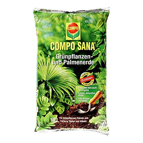 COMPO SANA Grünpflanzen- und Palmenerde mit 8 Wochen Dünger für alle Zimmer- und Balkonpflanzen sowie Palmen und Farne Kultursubstrat 10 Liter