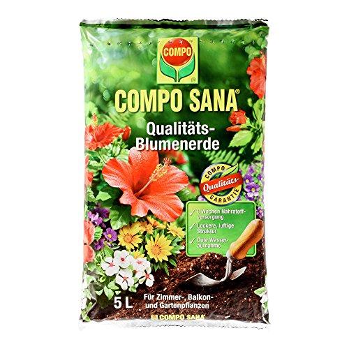 COMPO SANA Qualitäts-Blumenerde mit 8 Wochen Dünger für alle Zimmer- Balkon- und Gartenpflanzen Kultursubstrat 5 Liter