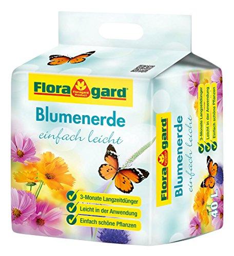 Floragard torfreduzierte Blumenerde einfach leicht 40 L • Universalerde • mit 3-Monate-Langzeitdünger für Balkon- Kübel- und Zimmerpflanzen • mit dem Naturdünger Guano