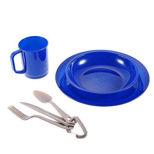 Lixada 6 Stück Geschirr Set für 1-Personen-Geschirr Besteck Teller Schüssel Becher Gabel Löffel Cutter für Camping Backpacking