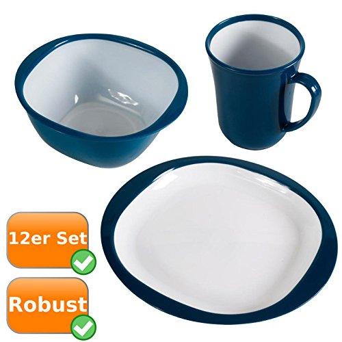 Robustes Picknick-Geschirr im praktischen 12er Set bestehend aus 4 Tassen 4 Schüsseln 4 Teller ideal für Ihren Campingurlaub die Festivalsaison oder bei Wanderungen Farbe blau-weiß