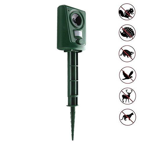 Ultraschall Vertreiber Surenhap Tierabwehr Upgrade im Freien Elektronische Schädlingsbekämpfung mit Bewegungssensor für die Abwehr von Hunde Katzen Kaninchen Vögel